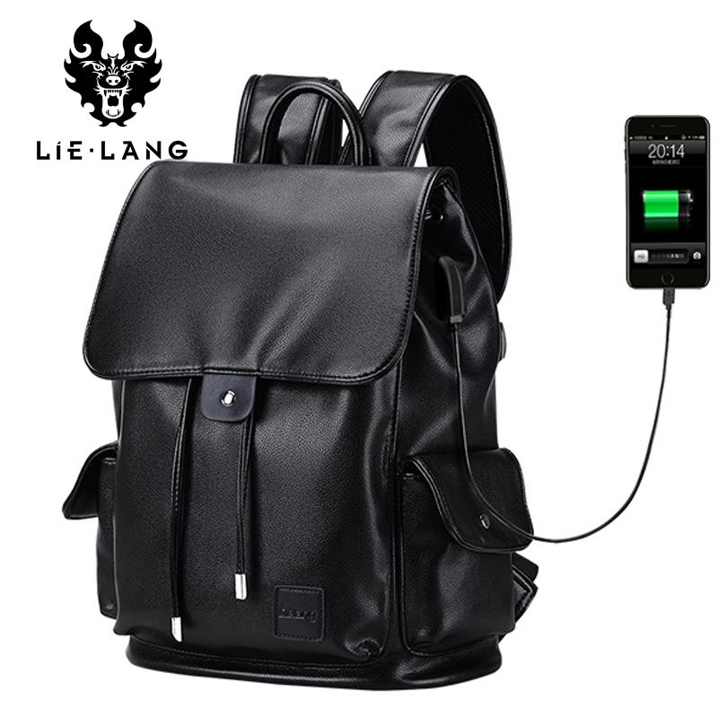 620143e167 Fashion String Backpack Leather Men Waterproof Laptop Travel Backpacks For  Teenager Notebook Computer Backpack Secure Bag