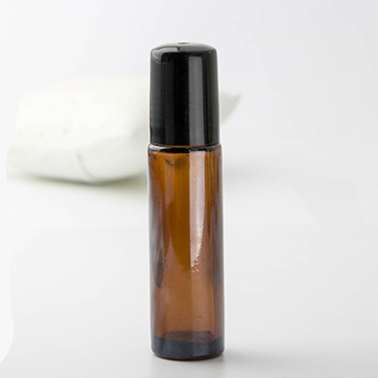 10ML 10G Amber Cam Rulo Açık Şişe Boş Esansiyel Yağı Parfüm Rollon Tüp Stainlesss Çelik Merdane Topu Şişe Siyah Kapak Seyahat Taşınabilir