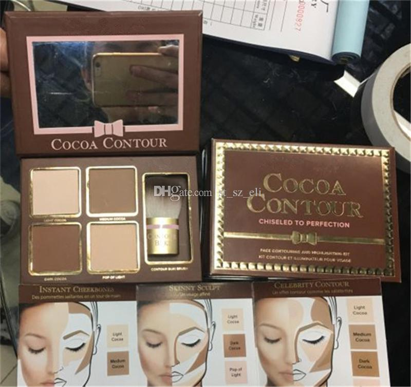 Faced Cocoa Contour Chiseled To Perfection Highlighters Face Contouring And Highlighting Kit with brush