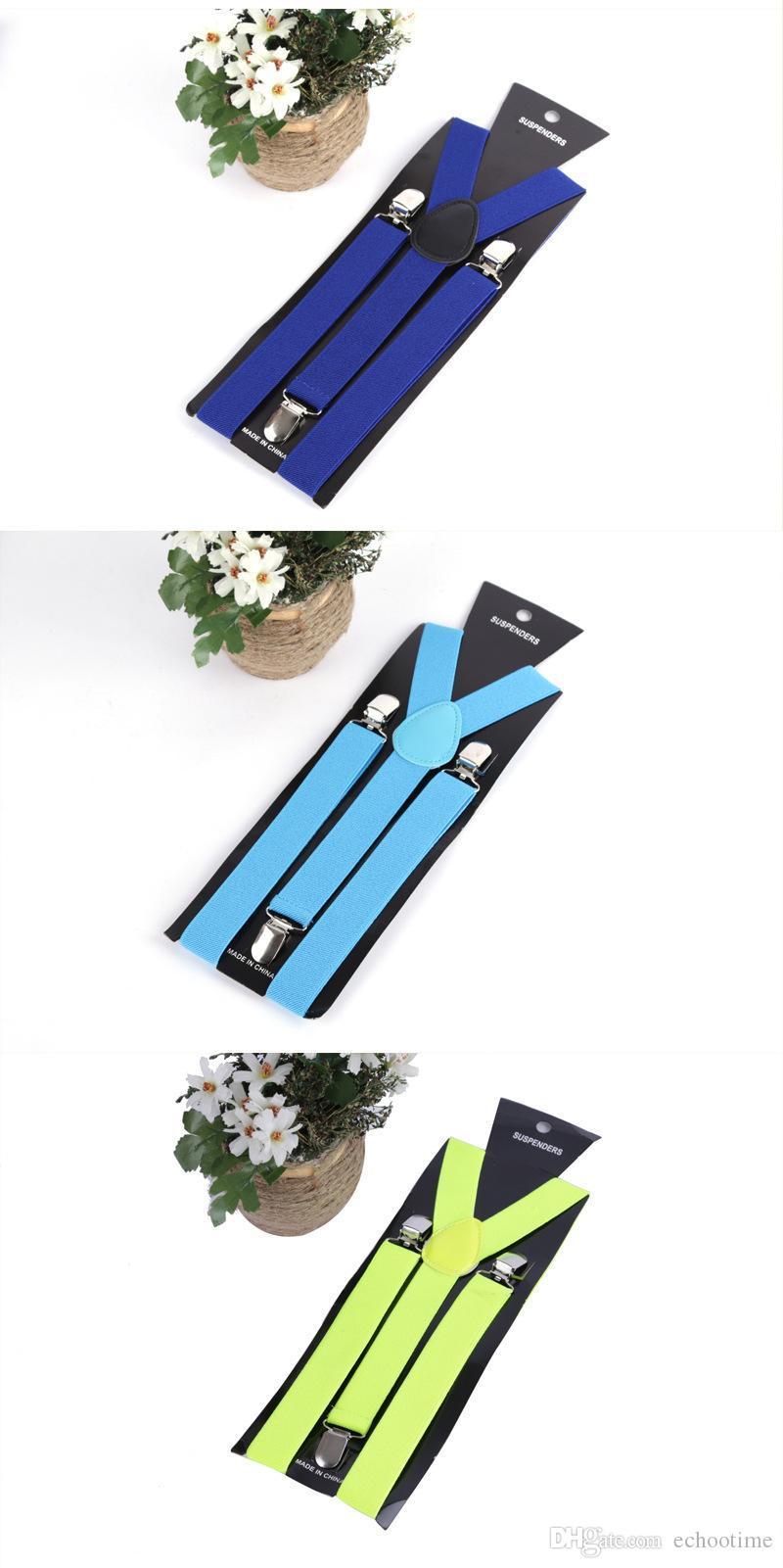 Haute Qualité De Couleur De Sucrerie Unisexe Réglable Pantalon Y-retour Jarretelle Brace Élastique Clip-on Ceinture Réglable Bretelles Bretelles