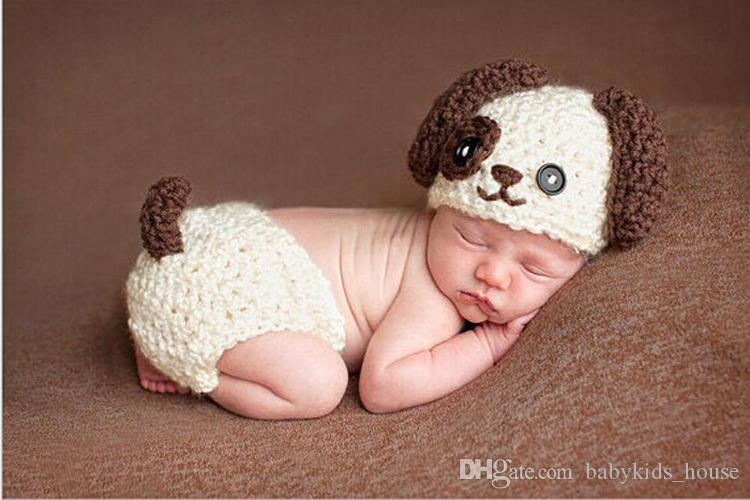 dac6e9c0677ee Lovely Puppy Dog Newborn Baby Outfits Knitted BABY Boys Coming Home Clothes  Set Crochet Infant Baby Animal Costume Flower Girls Hair Accessories Hair  ...