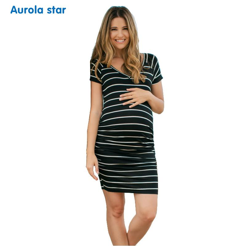 2019 Maternity Dresses Stripe Photo Shoot Party Elepregnant Woman