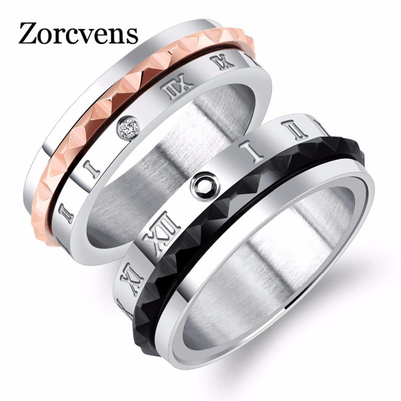 ZORCVENS Roman Numerals Lovers Wedding Rings Rotatable Spinner Design Black/ Rose Gold Color Women Men Engagement Ring