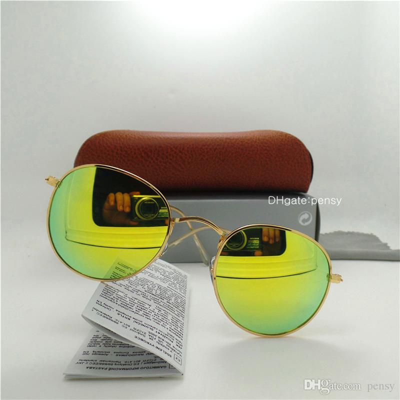 High Quality Glass Lenses Luxury Men Women Sunglasses Round Coating Trend Brand Design Vintage Oval Round Eyewear Cat Goggles Mirror Box Cas