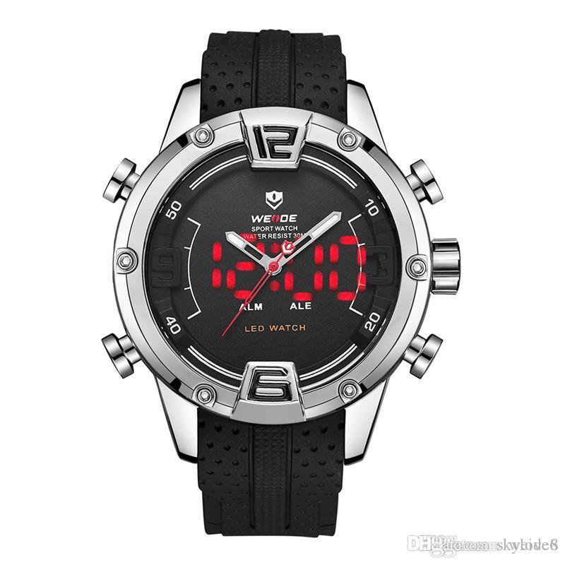 584deff2f0cf Compre Nuevo Diseño WEIDE WH7301 Pantalla LED Doble Reloj De Cuarzo De Los  Hombres 30 M Calendario Impermeable Iluminación Multifunción Silicona  Deportes Al ...