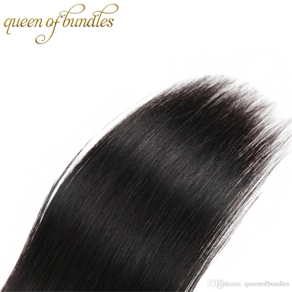 Siyusi pelo virginal brasileño pelo liso 3 paquetes con cierre parte libre / medio parte / tres partes del cabello humano cierre de encaje