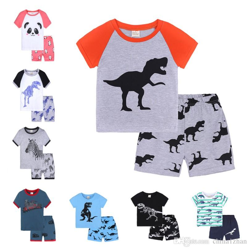 f9b2405571e0 Kids Pajamas Sets Dinosaur Car Printed Shirt Shorts Sets Boys Sleepwear  Suits Baby Girl Nightwear Kids Clothing DHT473 Cat Pajamas For Girls  Christmas ...
