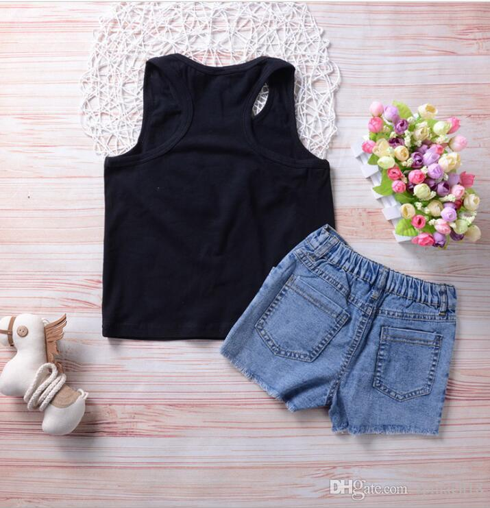 2018 Ins Sommer Mädchen Kleidung Sets Outfits Sunflower Buchstaben Tank Tops Weste + Jeans Denim Shorts 2 Stücke Set Kleidung Anzug 3912
