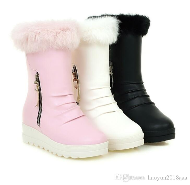 Autumn and winter new short tube snow boots rabbit hair size code wool boots fashion shoes