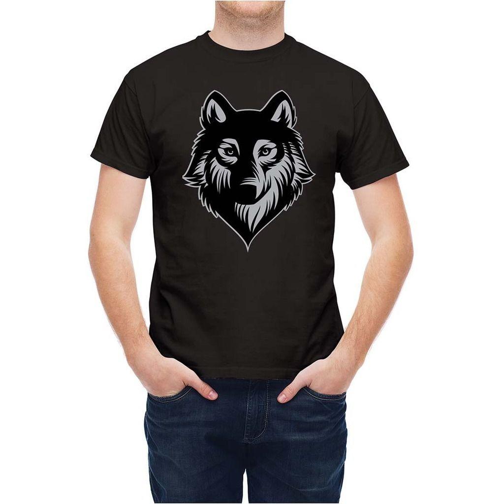 Shirt Loup Acheter Tête De T Gris Courtes Sauvage T238x7 Manches fYb76gy