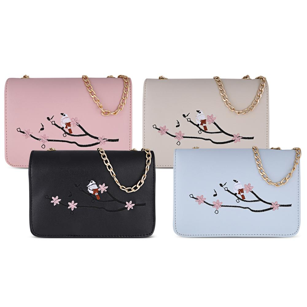 7319ce09e7cb 2018 Women Bird Tree Branch Embroidery Handbag Chain Women Purse Shoulder  Bag Crossbody Messenger Bag Wallets For Women Ladies Handbags From Roseyy
