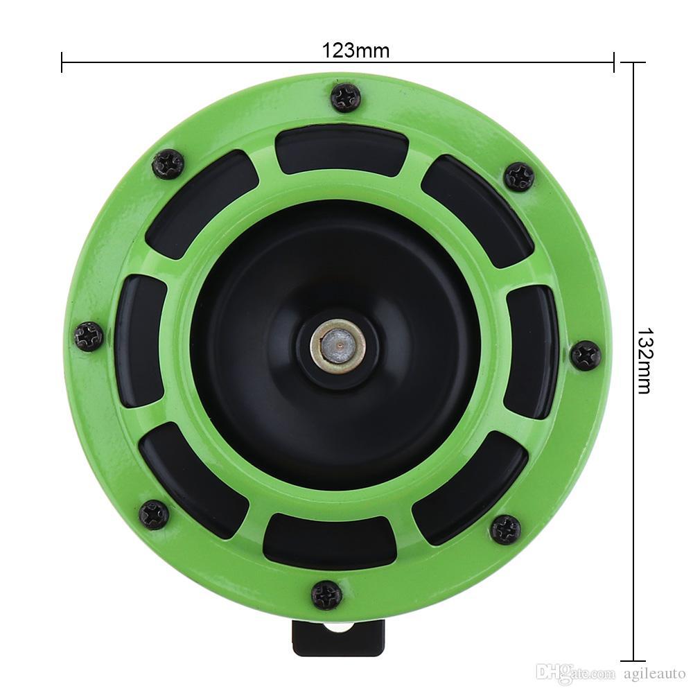 12 V Preto / Verde Super Alto Grelha Montar Trompete Compact Explosão Elétrica Dual Tone Buzina para Carro / Motocicleta HOR_102