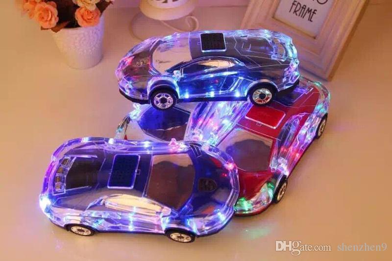 Portable Bluetooth Wieless Haut-Parleur Coloré Cristal LED Lumière Mini Forme De Voiture Amplificateur Haut-Parleur Soutien TF FM MP3 Lecteur de Musique MIS184