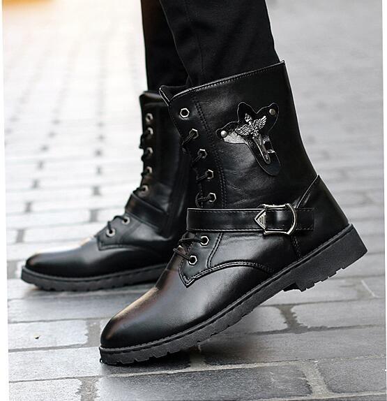 23ad477a412 Compre Botas Para Hombre Botas Negras Casuales Martin Botas De Cuero Para  Adolescentes De Tendencia Envío Gratis A $37.11 Del Bianledechan1020 |  DHgate.Com