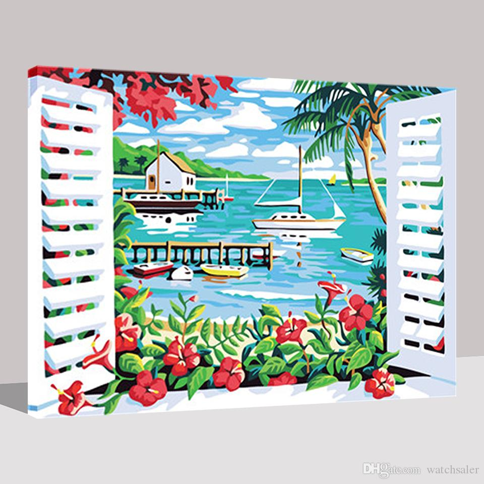 Out Of The Window Seascape DIY Painting By Numbers Acrylic Handpainted Oil Pictures On Canvas Kits Drawing By Numbers Home Decor