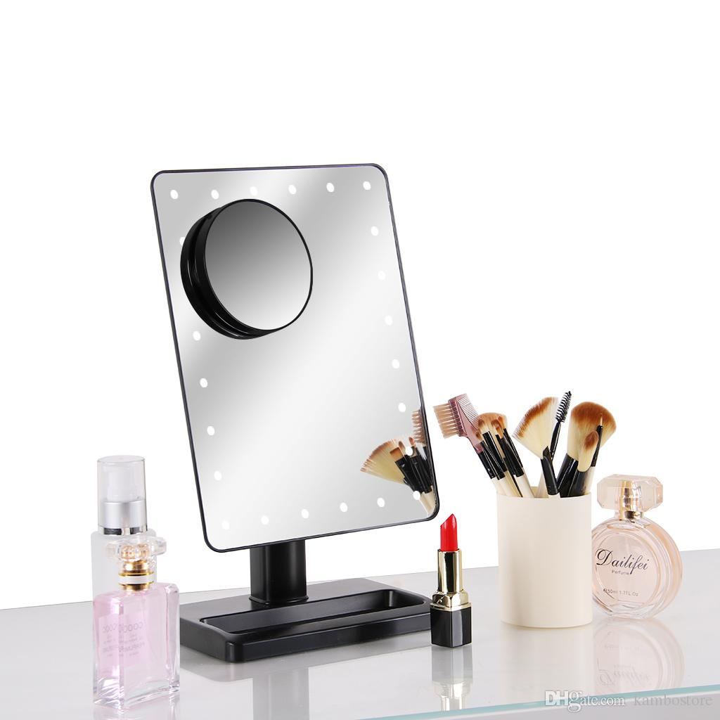 Led Lighted Makeup Vanity Cosmetic Mirror With 24 Lights 12 Inch Large Screen 10x Magnification