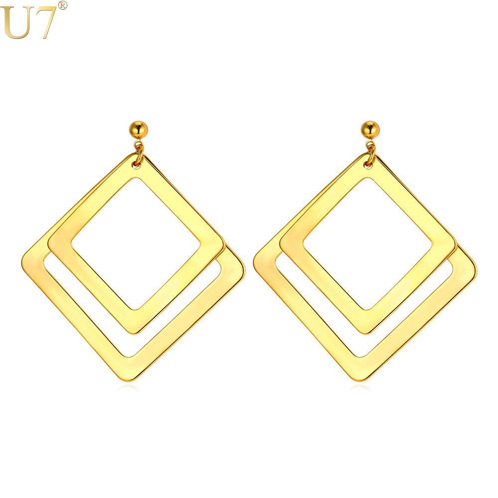 ad9922a54f3c Al por mayor-U7 color oro pendientes de acero inoxidable para las mujeres  del regalo del partido Declaración de moda joyería doble aro cuadrado ...
