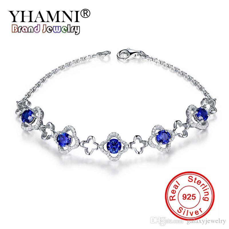 3e2048d1e5c5 Compre YHAMNI Sólido 925 Pulsera De Plata Esterlina Moda Azul Joya Pulsera  De Cadena Para Las Mujeres CZ Circón Pulseras Joyería YZH084 A  14.2 Del ...