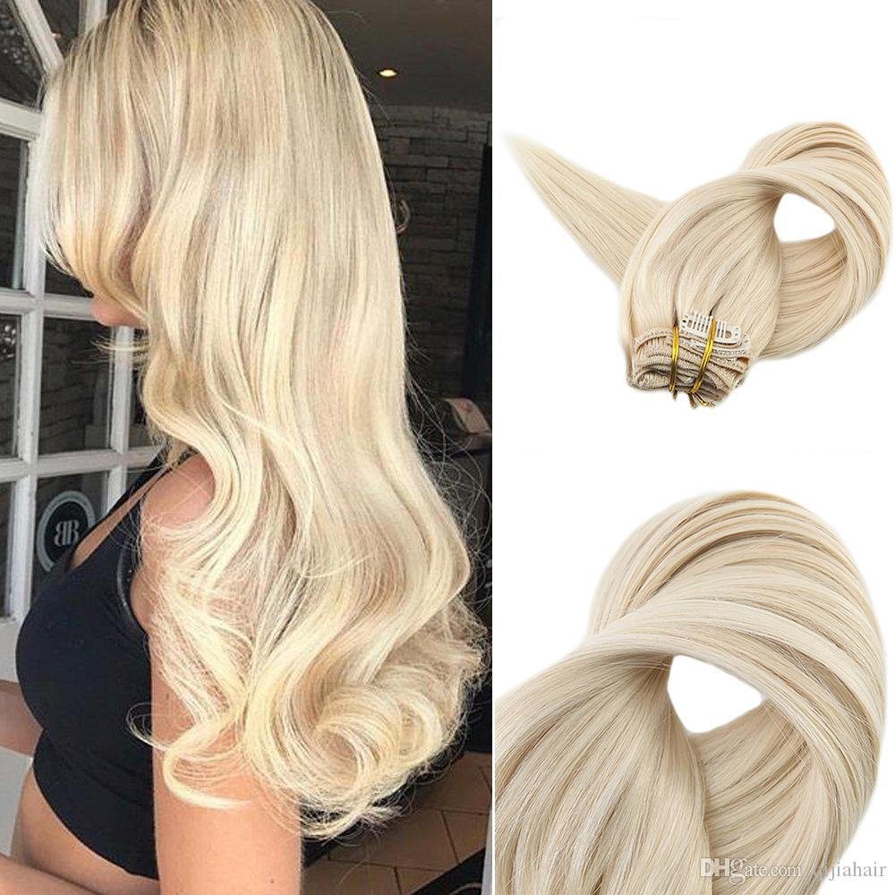 Full Head Remy Clip Inon Hair Extensions Platinum Blonde 60
