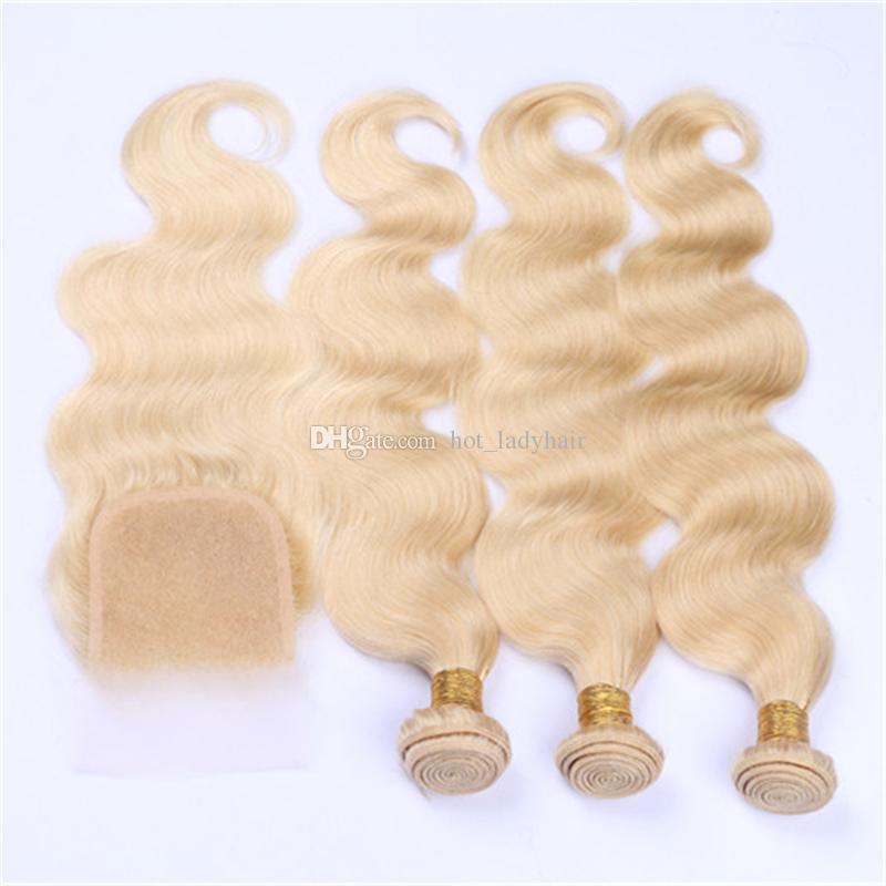 Платиновая блондинка 613 Кружевная застежка с пучками Перуанская блондинка Волосы девственницы Плетение объемных волн и закрытие сверху Свободная часть 4шт / много