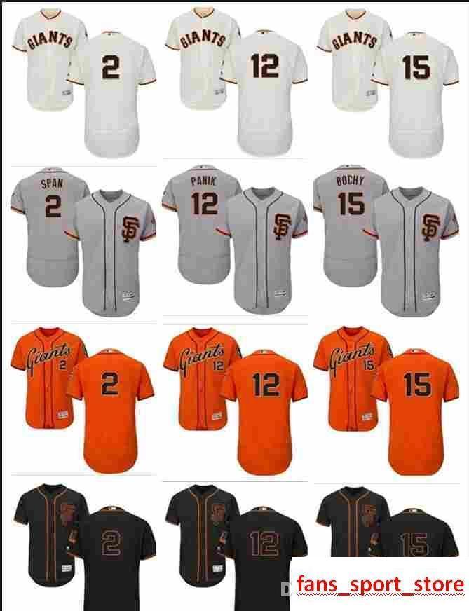 buy online d12a3 74029 2019 custom Men s Women Youth Majestic SF Giants Jersey #12 Joe Panik 15  Bruce Bochy 2 Denard Span Home Black Orange Baseball Jerseys