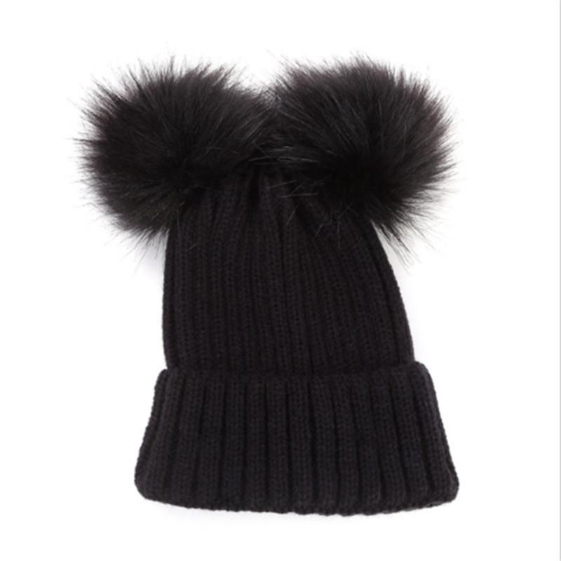 4218a7b3 2019 Autumn Winter Baby Boys Girls Faux Fur Pompom Hat Female Warm Cap  Knitted Beanie Girl Double Ball Pom Pom Hats Kids Bonnet Femme From  Huanbaoxin, ...