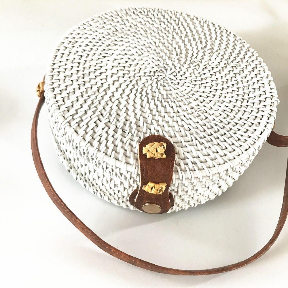 Rattan Bags White Color Straw Round Handbags For Women 2018 Bohemian Beach  Shoulder Bags Leather Handbag Red Handbags From Serady