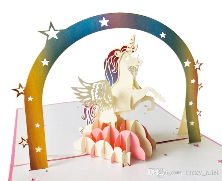Imgenes de how to make a free online greeting card unicorn pop up card 3d rainbow thank you card for birthday christmas hand made gift free m4hsunfo
