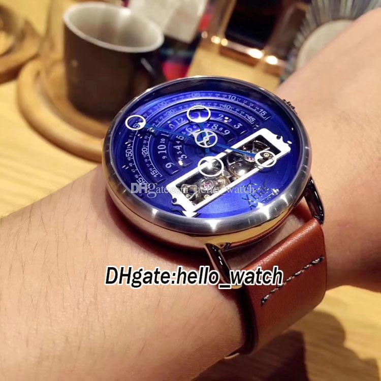 California Limited Edition Fashion Brand 45mm 6 Style Xeric Halograph Blue Dial Automatic Men's Watch Brown Leather Strap Cheap New Watches