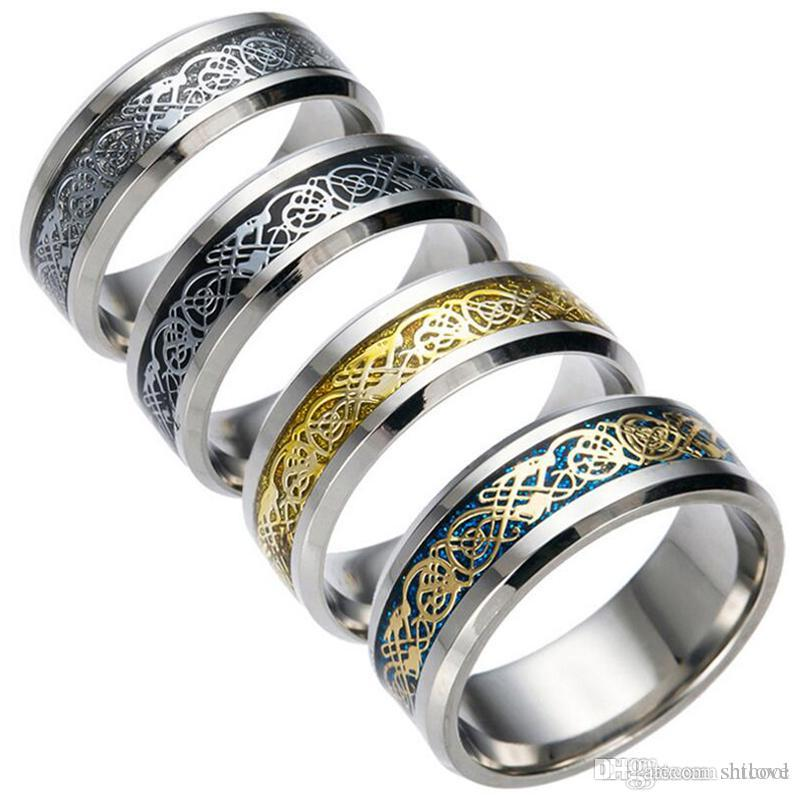 Men's Stainless Steel Ring - 4 Style Dragon Pattern Carving Rings Fit For Mens Womens Cool Simple Band (USA Size 6-13)