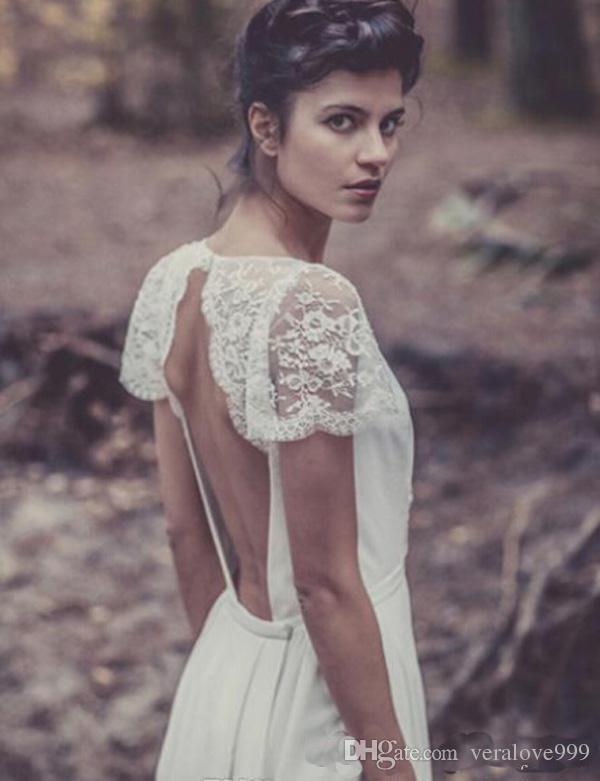 فساتين زفاف البوهيمي لور دي Sagazan عارية الذراعين الخامس الرقبة بالإضافة إلى حجم فساتين الزفاف بوهو شاطئ أثواب الزفاف قصيرة الأكمام