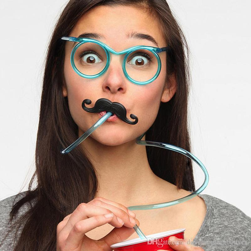 Funny Mustache/Beard Glasses Creative Straws DIY Straws Baby Birthday/Wedding Party Decoration Drinking Kids Toys Free DHL