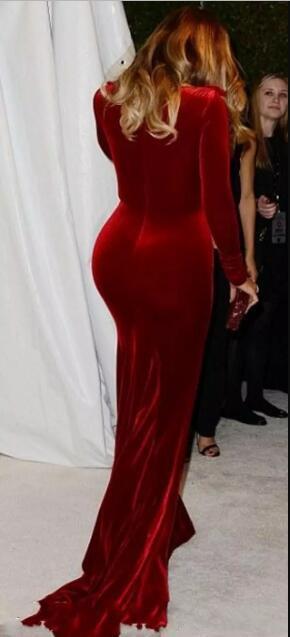 Burgundy V neck Long Sleeve Mermaid Velvet Fabric Evening Dress 2018 High Quality Charming Prom party gown celebrity dresses