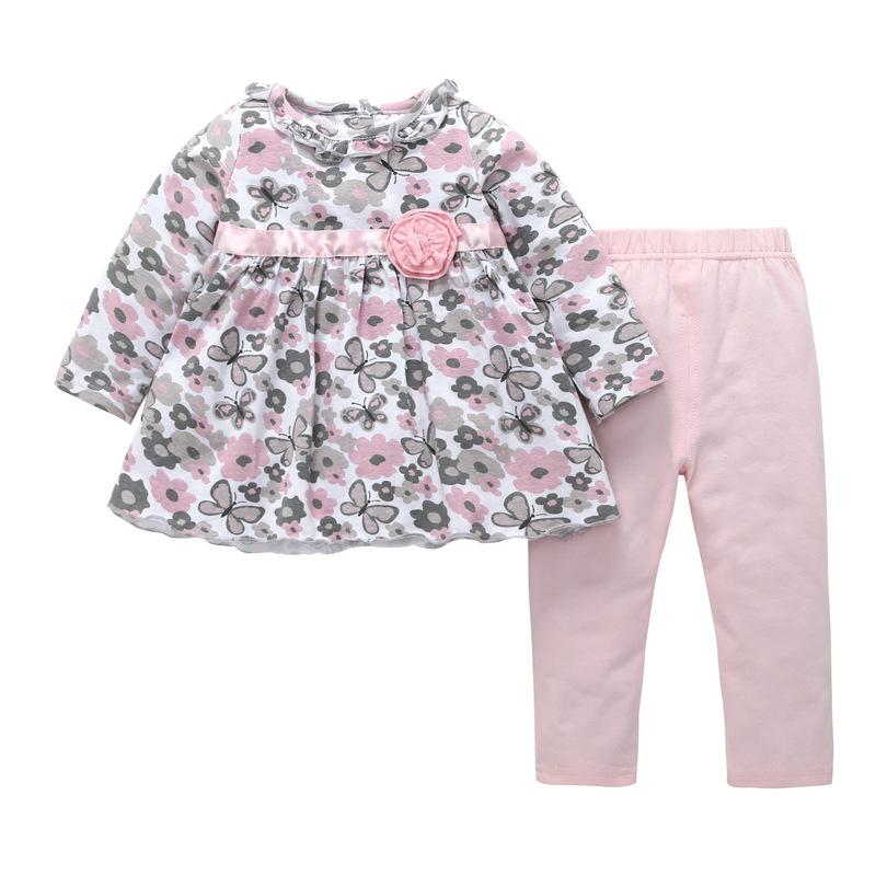 Sweet Baby Girls Floral Dresses Set with Long Pants Spring 2018 Kids Boutique Clothing Foreign Trade Little Girls Flower Long Sleeves Outfit
