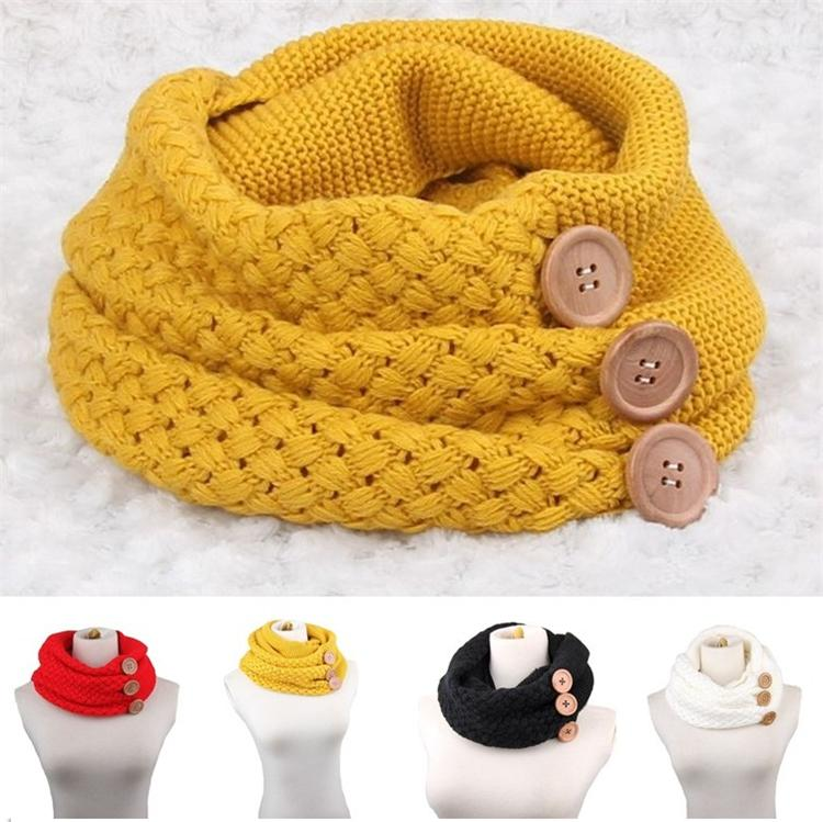 Winter Warm Knits Ring Scarves Luxury Women Solid Color Crochet