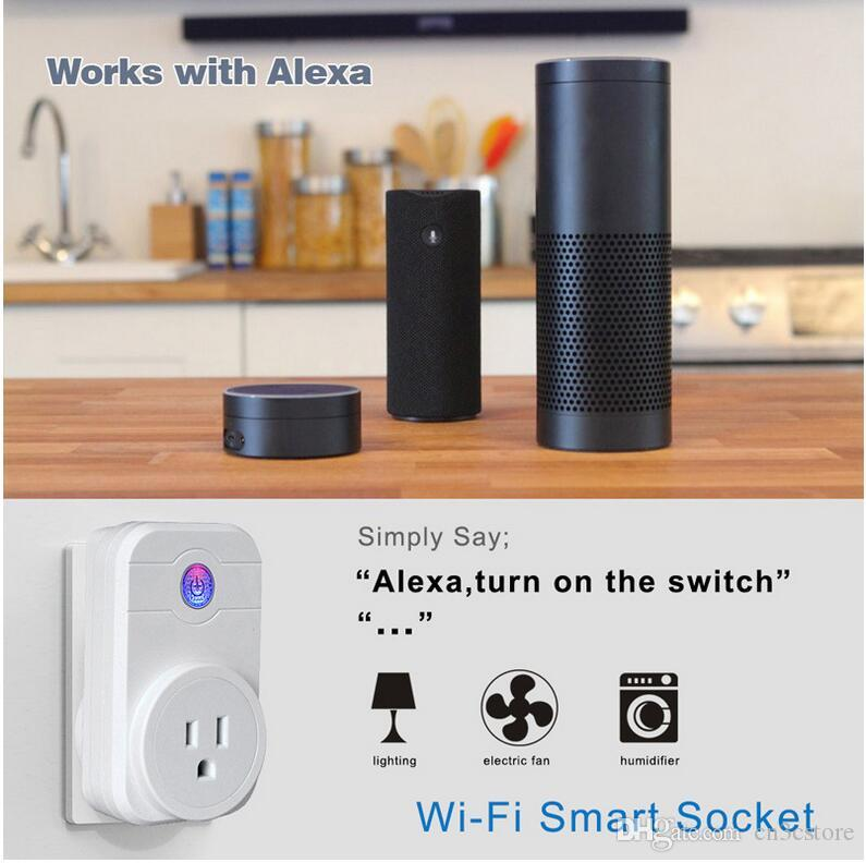 Smart Power Plug Wifi Sockets Remote Control by IOS Android Phone Timing Switch EU US UK Smart Socket Compatible with Alex Google Home