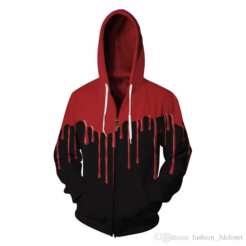 Gothic Blood 3D Sweatshirt Hot Sale Horror Hoodie Men Harajuku Tracksuit Plus Size Men Hooded Tops Long Sleeve With Cap Hoody