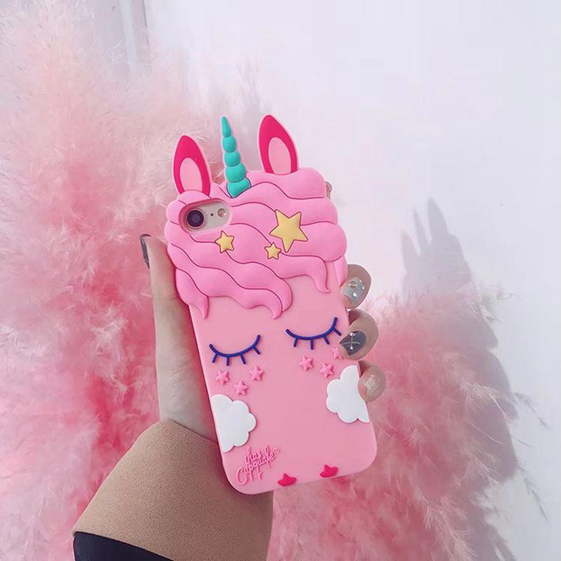 Custodia morbida in silicone 3D Unicorn Iphone XS MAX XR X 8 7 Plus 6 6S Sorriso Simpatica copertina del telefono cellulare simpatica e carina