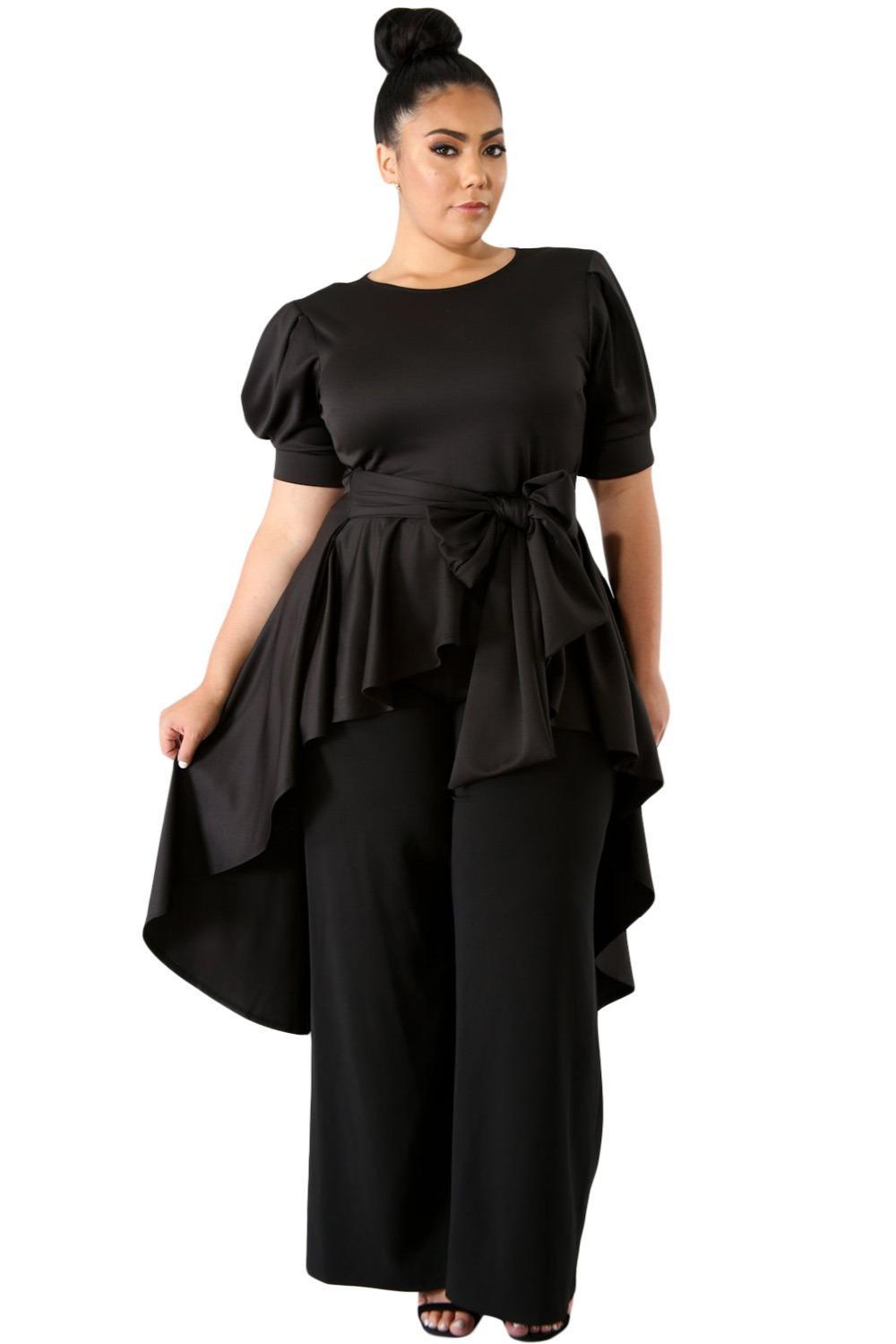fab0771e0e2 Compre 2018 Blusas De Mujer Ropa De Gran Tamaño Asimétrica Sólido ...