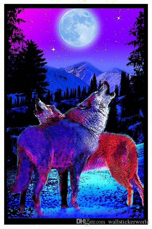 Timberwolves Flocked Moon Star Animal Landscape Poster Fabric Silk Posters  And Prints For Home Decoration No Framed