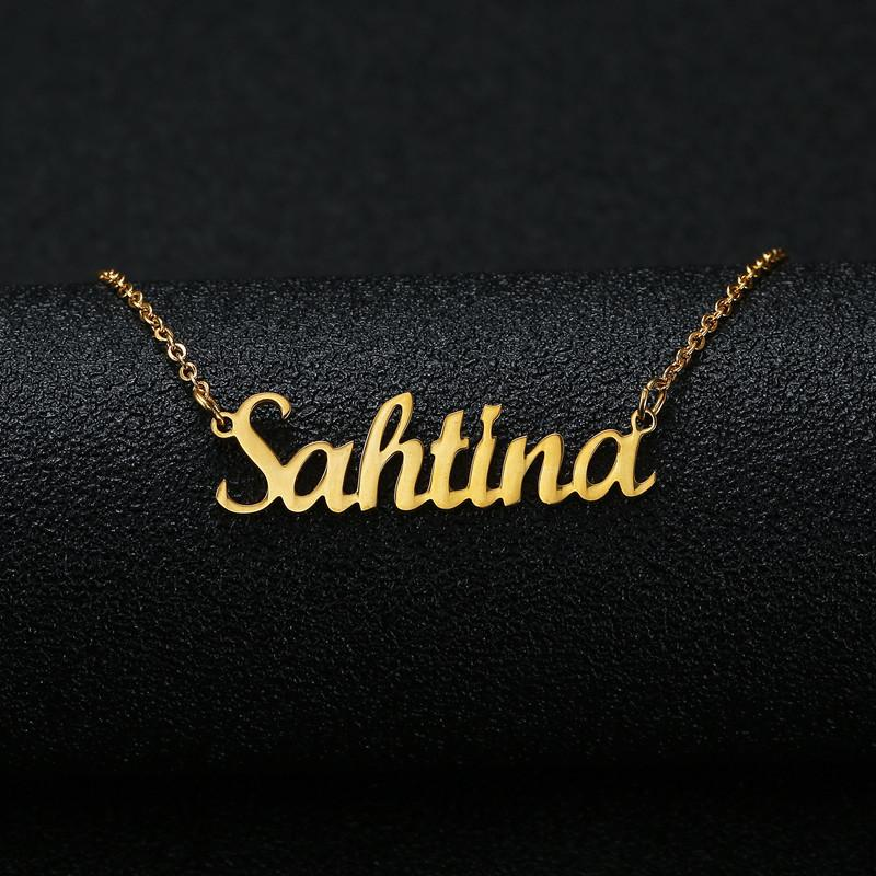 b60332d1fb3c9 Gold Silver Color Personalized Custom Name Pendant Necklace Customized  Cursive Nameplate Necklace Women Handmade Birthday Gift