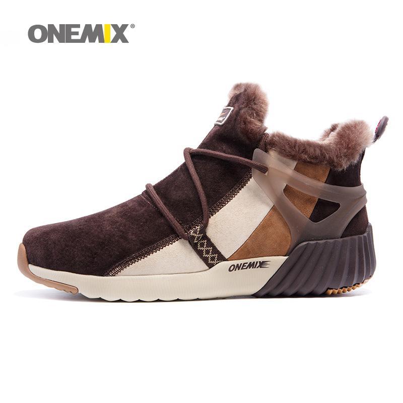 Acheter Onemix Hommes Hiver Chaussures Chaudes Pour Hommes Haut Haut De  Laine De Neige Bottes Pigskin Imperméable De Course Chaussures 2017 Homme  Sports En ... 11bc03111b6