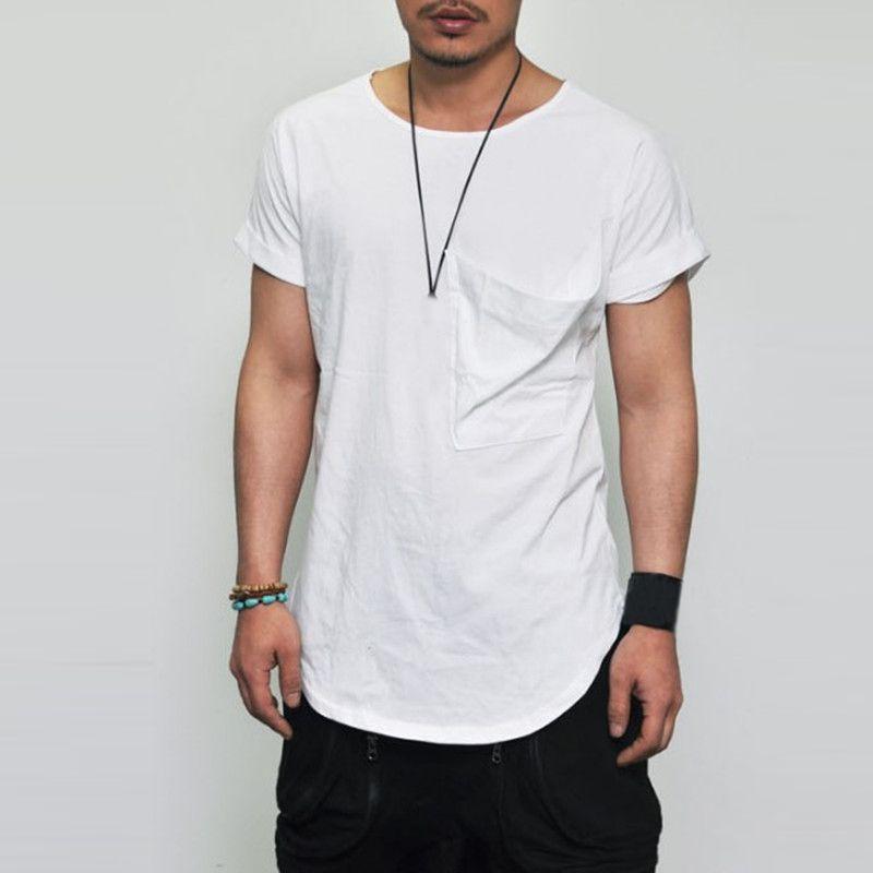 Acquista 2018 Nuovi Uomini Di Estate Bordo Largo Fit Fit Tasche Pieghe  Tshirt Con Maniche Lunghe Curve Orlo T Shirt Hip Hop Streetwear Plus 3XL A   26.02 Dal ... 4058a2a1f62f