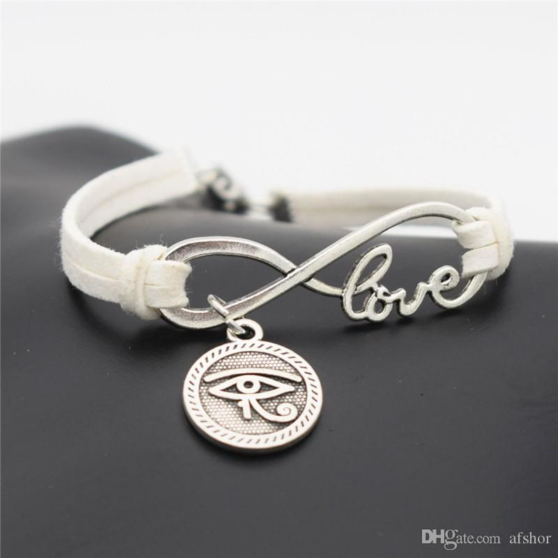 Ancient Egypt Totem Round Eyes of Horus Charm Bracelets & Bangles Women Men Pendant Handmade White Leather Suede Fine Jewelry for Lover Gift