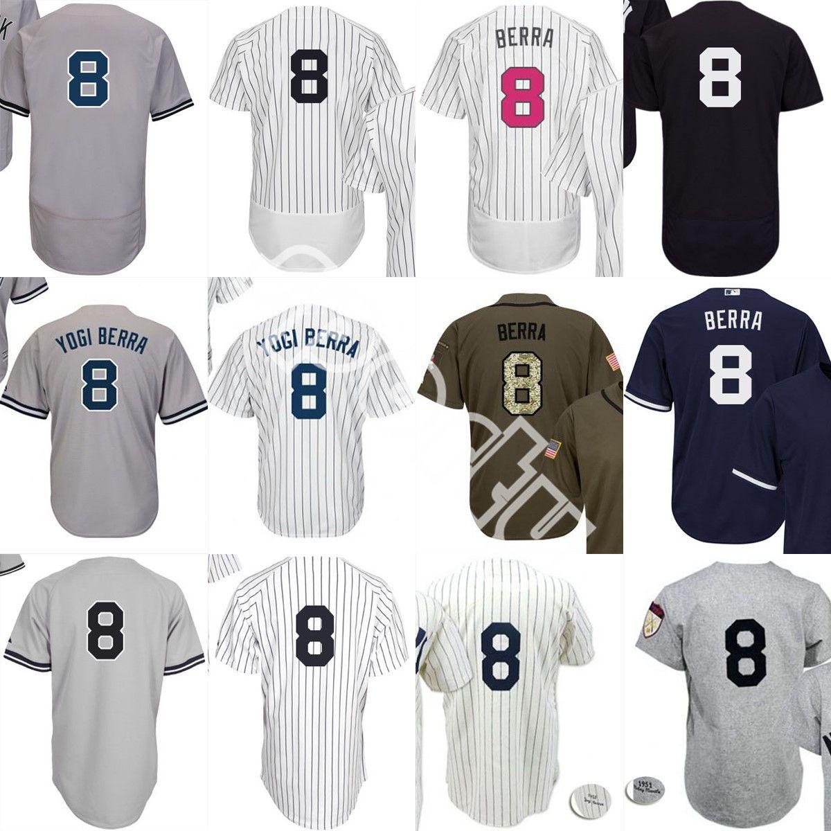 46453047e 2019 Men White Grey Navy 1951 8 Yogi Berra Baseball Jersey Mitchell And Ness  Salute To Service New York NYY Home Road Jerseys From Sporty