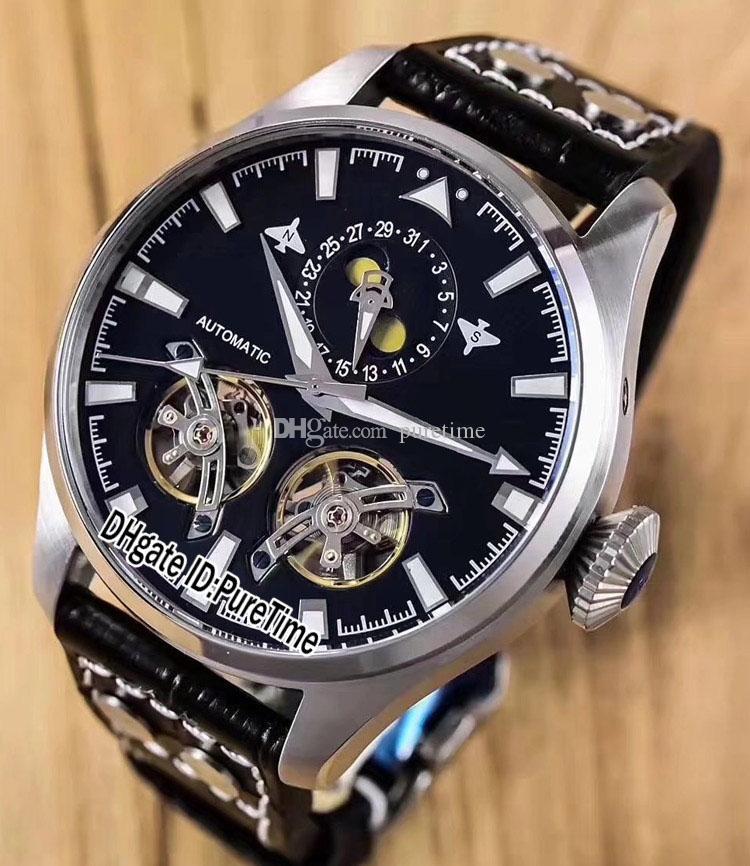 43d4a6dec3bcf Acheter Nouveau G5 Grande Montre D'Aviateur Boîtier Acier Cadran Noir  Double Tourbillon 1736 Phase De Lune Automatique Montre Homme Bracelet En  Cuir Noir IW ...