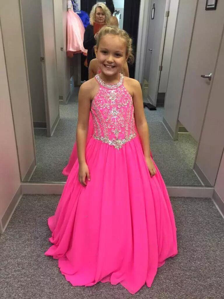 Fuchsia Girls Pageant Dresses Perline Cristalli Halter Neck Bambini Toddler Formal Prom Party Dresses Matrimoni Kids Formal Wear