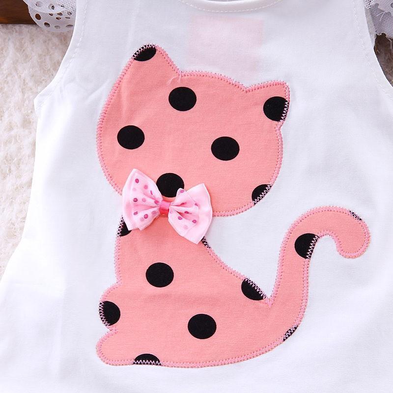 1 2 3 4 Verão Ano Roupa para meninas 2017 New Cat Impresso Camisas Shorts Roupa das Crianças Set Algodão Casual Suits Verão crianças