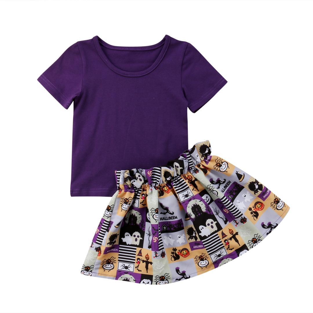 300d2d4d 2PCS Set Girl 2018 Purple Kid Baby Toddler Top+Tutu Halloween Skirt Holiday  Party Outfit Summer Set Clothes. Store-wide Discount