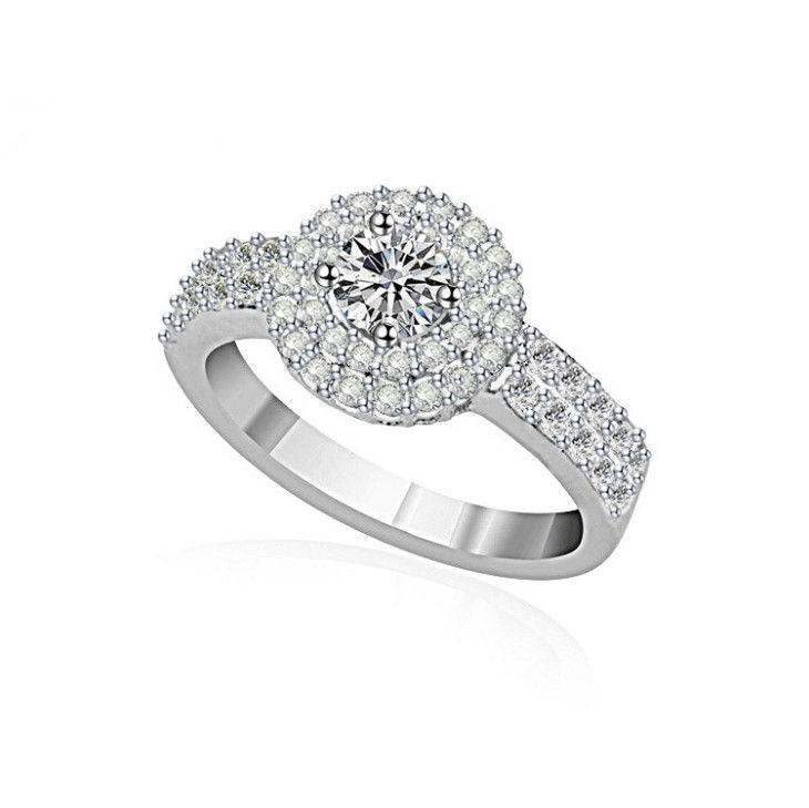 aec14e1cf0ea Anillo De Plata De Ley 925 Para Mujer Joyería Halo CZ Diamant Circón Anillos  De Compromiso De Boda Para Mujer N85 A  8.54 Del Elegantjewelry